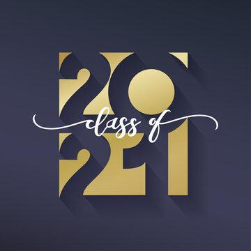 Class of 2021. Congratulations graduation banner numbers golden design elements. Vector graduation black and gold logo. Grad concept design for high school or college party, photo album, web.