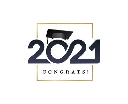 Class of 2021. Congratulations graduation banner numbers golden design elements. Vector graduation black and gold logo. Grad concept design for high school or college party, social network, web.