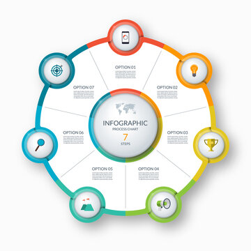 Infographic circle, process chart, cycle diagram. 7 steps. Vector template for business presentation, report, brochure
