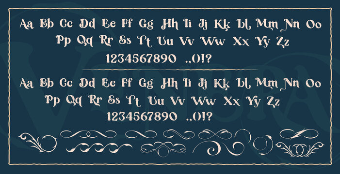 Set of decorative typefaces. Perfect for the brand, of invitations, postcards, printing logos, shops, and many other uses. Vector