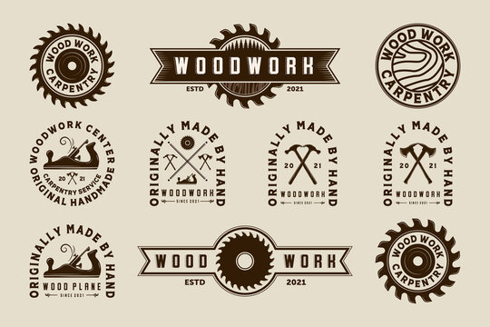 Exclusive Set of Woodwork Vector Illustration Logo Design. Premium Set of Woodwork Logo Template for Wood Master, Sawmill and Carpentry Service. Collection, Bundle or Set Logo of Woodworking Tool