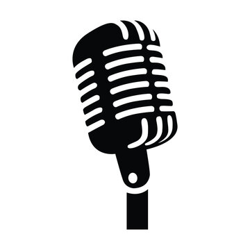 Retro vintage microphone vector isolated. Simple mic silhouette. Music, voice, record icon. Recording studio symbol. Flat style vector illustration