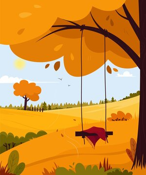 Beautiful landscape. Rural landscape panorama. Cartoon style. Banner. Autumn season in a city park or forest.Vector illustration.