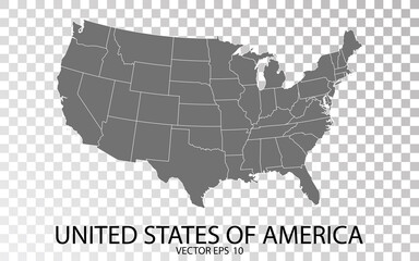 Transparent - High Detailed Grey Map of United States of America. Vector Eps 10.