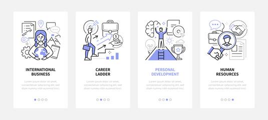 Fototapeta Business and management - modern line design style web banners obraz
