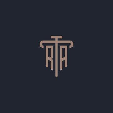 RA initial logo monogram with pillar icon design vector