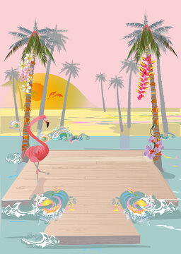 Series of sunset summer backgrounds with beach views, waves and seacoast.   Hand drawn vector illustration.