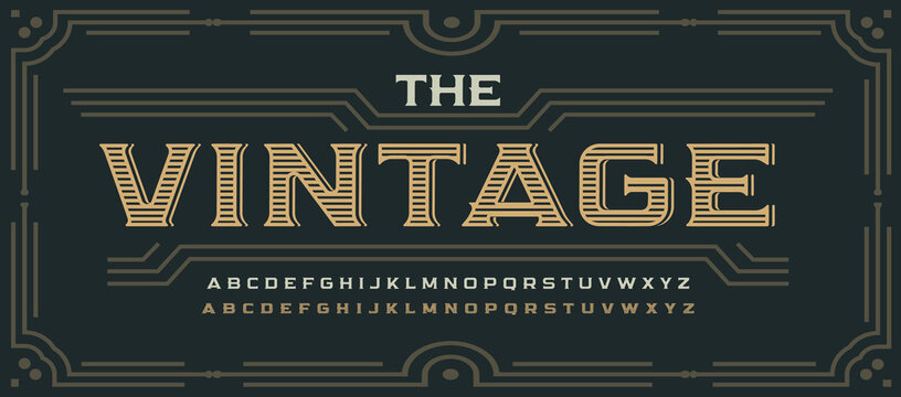 Vintage victorian style letters, classic serif font. Decorative elegant alphabet for rustic logo, old western lettering, poster and headline, whiskey emblem and packaging. Vector typographic design