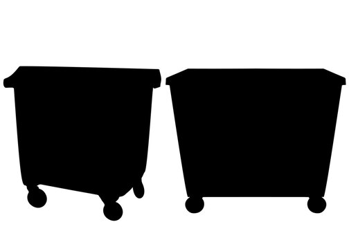 Outdoor large trash cans in the set. Vector image.