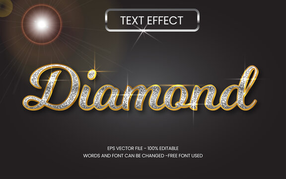 Gold metal text effect editable vector, silver glitter 3d diamond style.