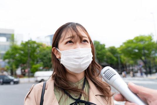 街頭インタビュー マスクの女性 20代 東京 原宿