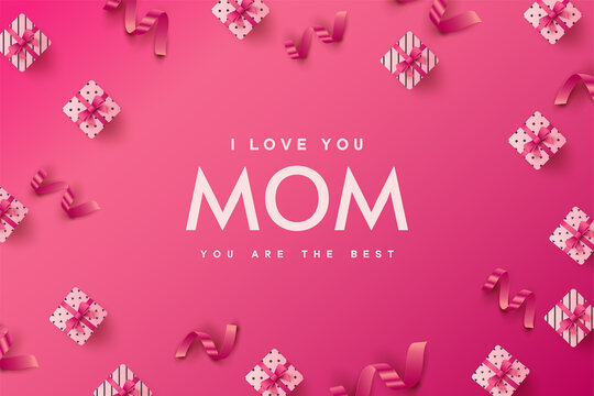 Happy Mother s Day background. I love you mom.  Vector Illustration
