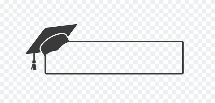 Graduate college, high school or university cap icon isolated on transparent background. Vector degree ceremony hat with line stroke border. Black educational student symbol and blank frame