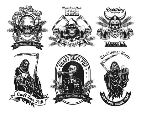 Monochrome labels with skeleton and beer vector illustration set. Retro tattoo design with dead character drinking alcohol. Beverage and weekend concept can be used for retro template