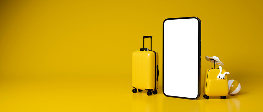 3D rendering, two yellow baggages with travel accessories and mock up smartphone in yellow background with copy space