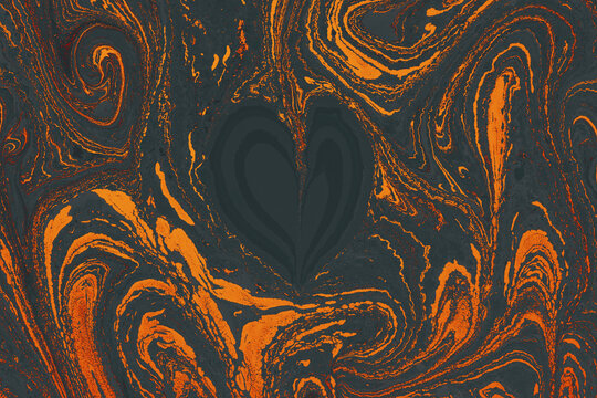 Paper marbling design texture with a heart-like shape on the iridescent gray and orange background