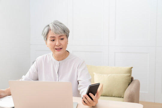 Elderly professional women working from home during the covid-19 pandemic