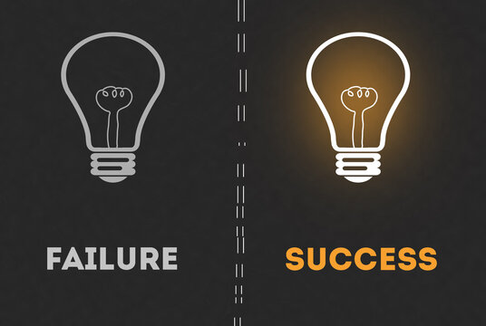 Failure Success light Bulb in dark gray background. Conceptual illustration of Glowing light bulb Vs dark Bulb. Success or Failure Concept