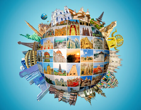 World religious and architecture monuments- collage or globe from different religions from Asia, Africa and Europe.