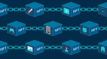 Fototapeta Concept of NFT, non-fungible tokens, Digital items for crypto art, game, video, collectible sale on internet online marketplace with virtual blocks on blockchain technology, vector flat illustration