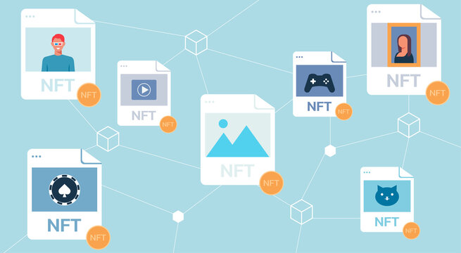 Concept of NFT, non-fungible token and digital items with crypto art, game, video for sale on internet online marketplace and blockchain technology, flat vector illustration