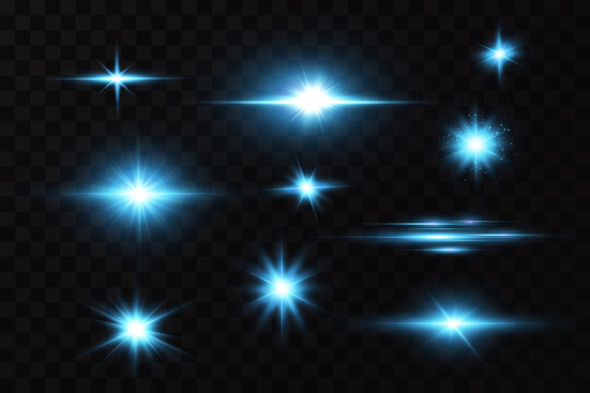 Bright particles, burning blue lights, stars, lasers. Vector.