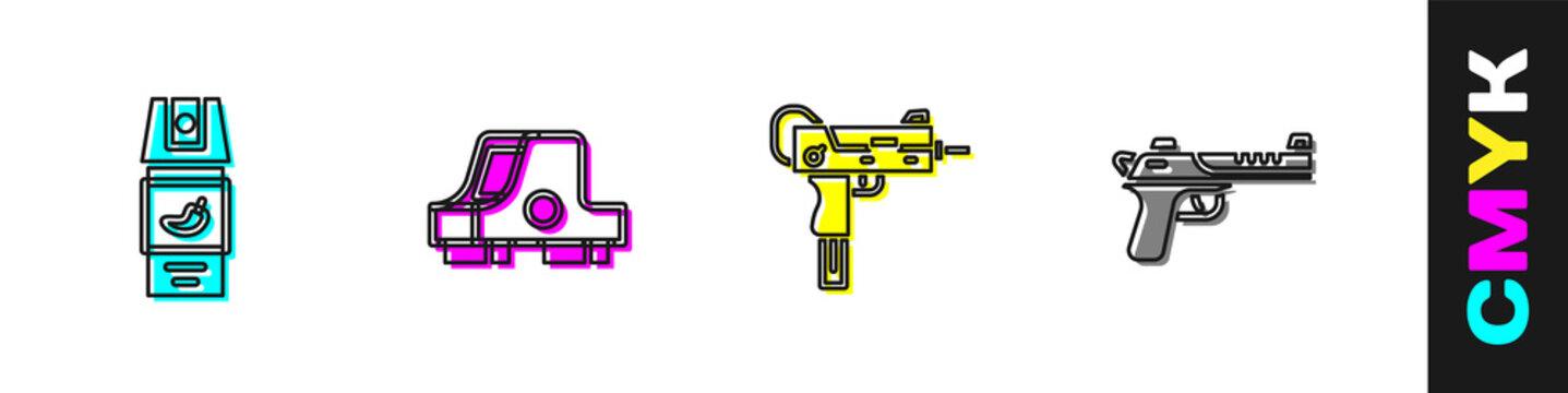 Set Pepper spray, Collimator sight, UZI submachine gun and Desert eagle icon. Vector