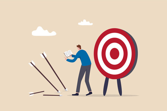 Learn from failure or mistake, admit and embrace the failure and practice to achieve success next time concept, businessman holding book look at missed target arrow learning or studying mistakes.