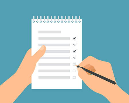 Flat design illustration of a man's hand holding a pencil filling out a to-do list in a workbook with a binder, vector