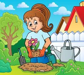 Wall Murals For Kids Girl gardener theme image 1
