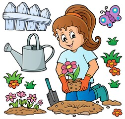 Wall Murals For Kids Girl gardener theme set 1