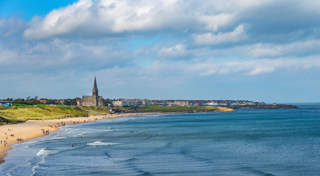 View North of long Sands Beach including St, Georges Church Tynemouth, Tyne & Wear,  Northumberland, England, UK
