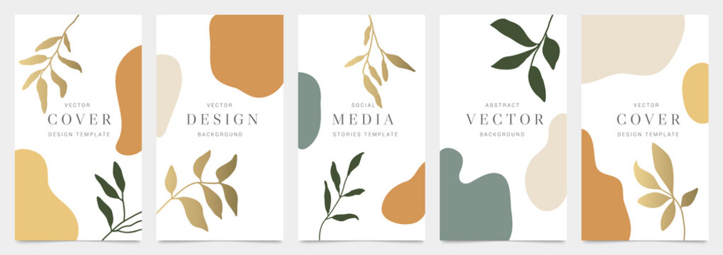 Cover templates vector set. Social media background design with floral and hand drawn organic shapes textures. Abstract minimal trendy style wallpaper. Vector illustration.