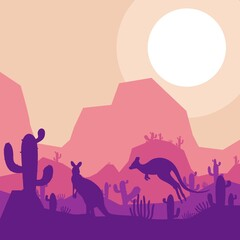 kangaroo animal silhouette desert savanna landscape flat design vector illustration