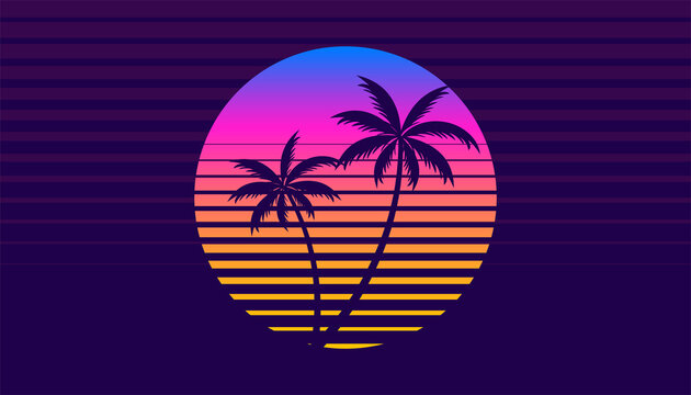 classic retro 80s style tropical sunset with palm tree