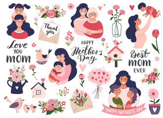 Wall Murals Mothers day set with mom and daughter, calligraphy text, carnation flowers. Hand drawn vector illustration.