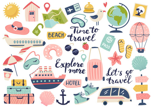 Travel and adventure tourism, travel abroad, summer vacation trip set. Hand drawn vector illustration. Perfect for sticker kit, scrapbooking, poster, tags