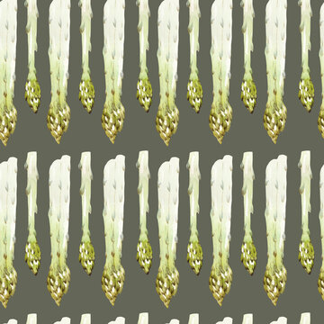 Seamless watercolor pattern with asparagus on a green background. Vegan print with asparagus. Healthy and healthy food.