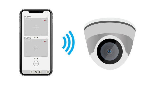 CCTV camera and video surveillance app on screen of smartphone. Wi-Fi dome camera.