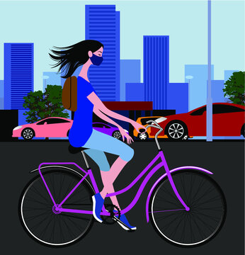 Cycling around the city. Young woman rides a bicycle. Vector illustration