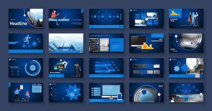 Business presentation, powerpoint, new technologies. Information infographic design template, blue elements, blue background, set. Team of people creates a technology, teamwork. Work. Mobile app