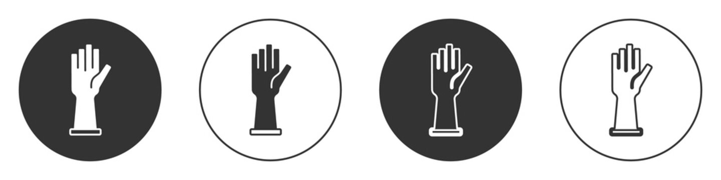 Black Medical rubber gloves icon isolated on white background. Protective rubber gloves. Circle button. Vector