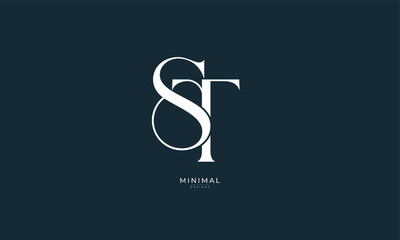 Fototapeta Alphabet letter icon logo ST obraz