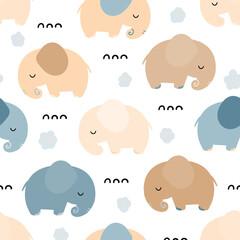 Joli modèle sans couture avec des animaux éléphants. Conception de bébé dans le style cartoon scandinave