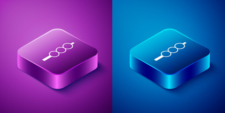 Isometric Meatballs on wooden stick icon isolated on blue and purple background. Skewer with meat. Square button. Vector