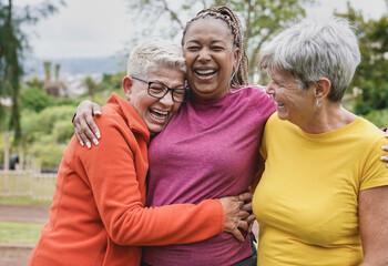 Fototapeta Happy multiracial senior women having fun together at park - Elderly generation people hugging each other outdoor obraz