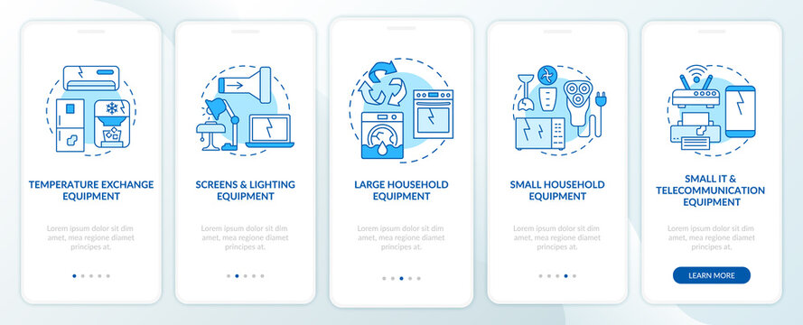 E-trash categories onboarding mobile app page screen with concepts. Household equipment walkthrough 5 steps graphic instructions. UI, UX, GUI vector template with linear color illustrations