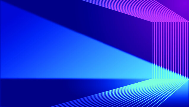 Neon lines construct a sense of space vector background of science and technology