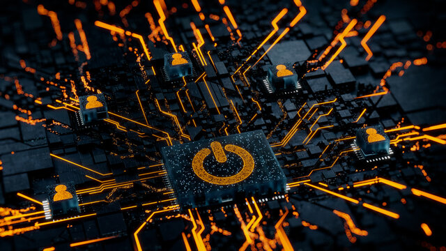 Activate Technology Concept with power symbol on a Microchip. Orange Neon Data flows between Users and the CPU across a Futuristic Motherboard. 3D render.