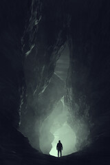 silhouette of a man in a cave, surreal underground landscape